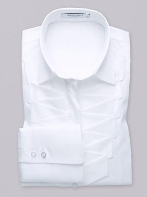 Biała bluzka z szerokim plisowaniem