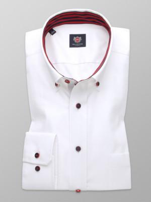 Biała taliowana koszula z czerwonymi kontrastami