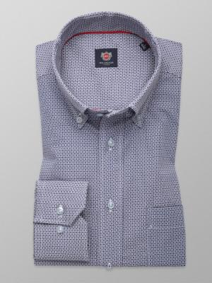 Granatowa klasyczna koszula w białe kwadraty