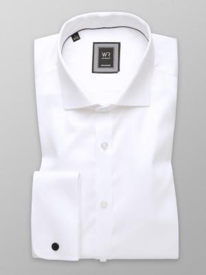 Biała koszula na spinki o mocno taliowanej sylwetce