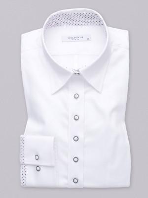 Biała bluzka z kontrastami w kropki