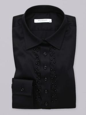 Czarna bluzka z perłami przy plisie