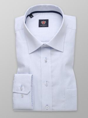 Biała taliowana koszula w błękitną kratkę