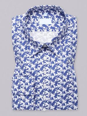 Biała bluzka w granatowe kwieciste wzory