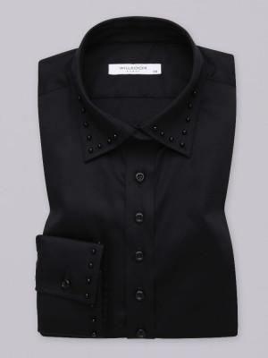 Czarna bluzka z perłami na kołnierzyku i mankietach