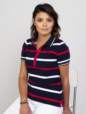 Granatowa koszulka polo w białe i czerwone paski
