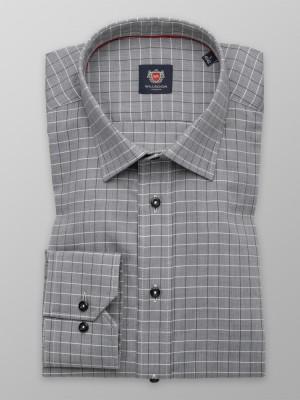 Szara taliowana koszula w jodełkę i kratkę
