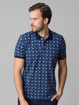 Granatowa koszulka polo w żaglówki i kotwice