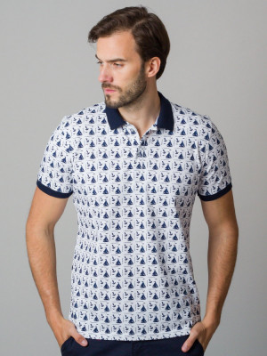 Biała koszulka polo w żaglówki i kotwice