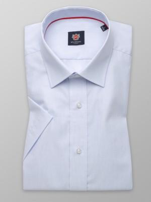 Biała taliowana koszula w błękitny prążek