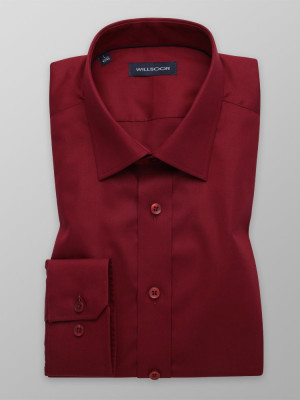 Bordowa taliowana koszula