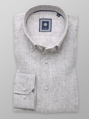 Szaro-beżowa lniana taliowana koszula
