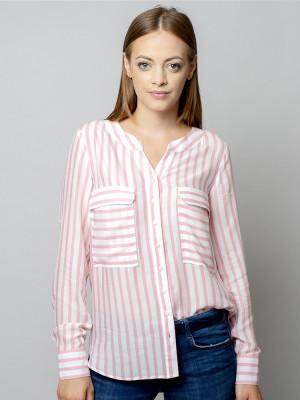 Biała bluzka o luźnym kroju w różowe paski
