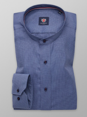 Niebieska taliowana koszula ze stójką