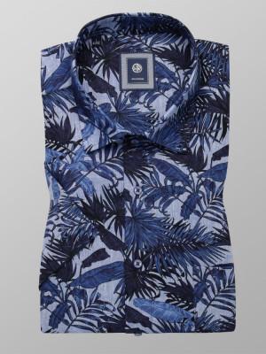 Niebieska klasyczna koszula w liście