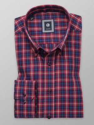 Granatowa taliowana koszula w czerwoną kratę