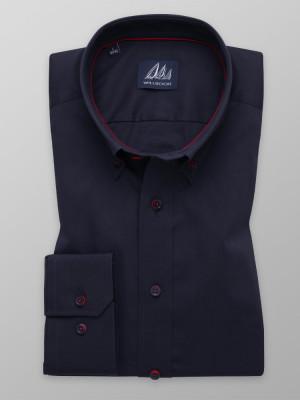 Granatowa taliowana koszula w delikatny prążek