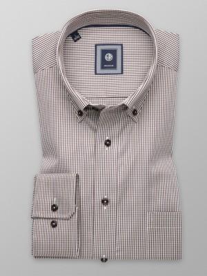 Taliowana koszula w drobną brązowo-białą kratkę