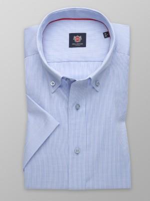 Biała taliowana koszula w granatowy prążek
