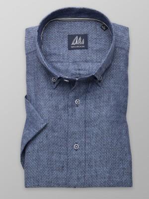 Niebieska lniana taliowana koszula