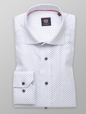 Biała klasyczna koszula w błękitne wzory