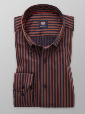 Taliowana koszula w granatowe i brązowe paski