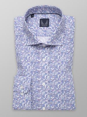 Biała taliowana koszula w niebieskie kwiatki