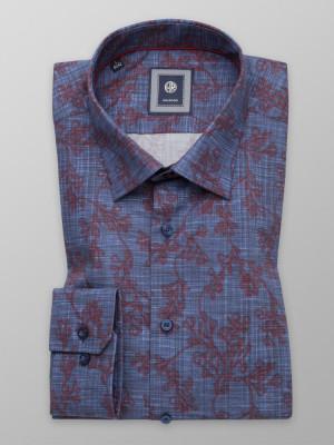 Granatowa taliowana koszula w kwiecisty wzór