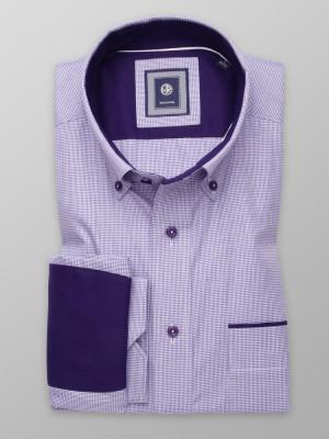 Taliowana koszula w fioletowo-białą pepitkę z kontrastami