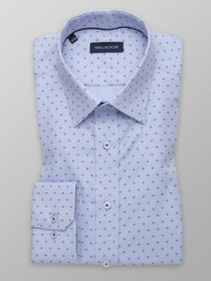 Błękitna taliowana koszula w kropki