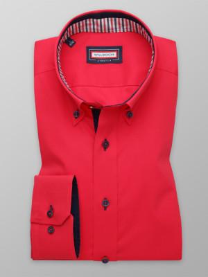 Czerwona taliowana koszula z kontrastami