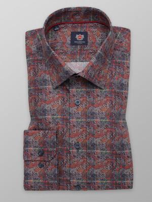 Brązowa taliowana koszula we wzory
