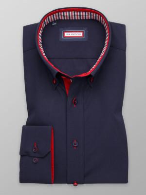 Granatowa taliowana koszula z kontrastami