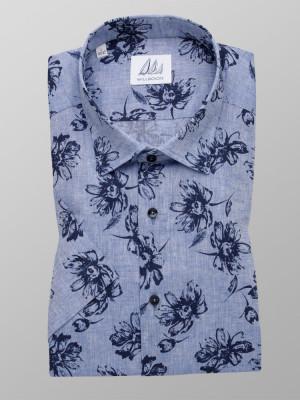 Błękitna taliowana koszula w kwiaty