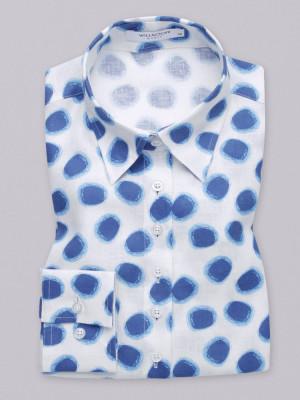 Biała bluzka w niebieskie plamy