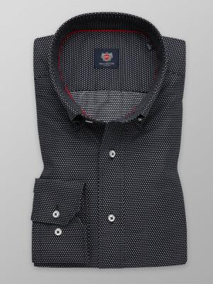 Czarna taliowana koszula w kropki