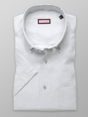 Jasnoszara lniana klasyczna koszula