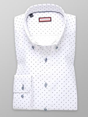 Biała taliowana koszula w granatowe łezki