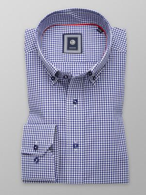 Taliowana koszula w granatowo-białą kratkę gingham