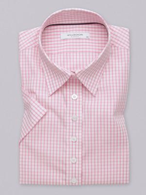 Biała bluzka w różową kratkę z krótkim rękawem