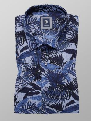 Niebieska taliowana koszula w liście