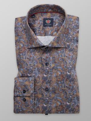 Brązowa taliowana koszula we wzory paisley