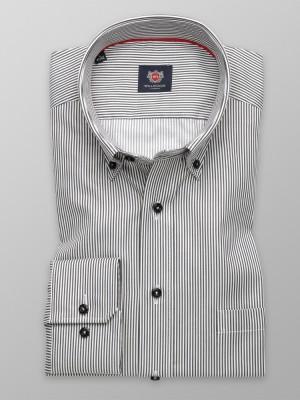 Klasyczna koszula w grafitowe i białe paski