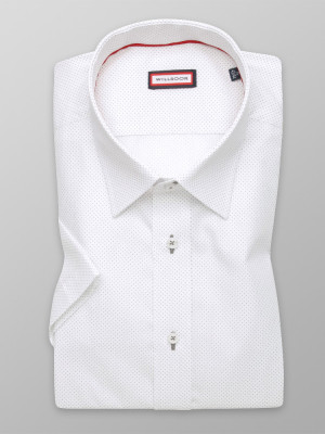 Biała taliowana koszula w kropki