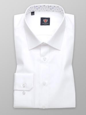 Biała taliowana koszula z kontrastami w kwiaty