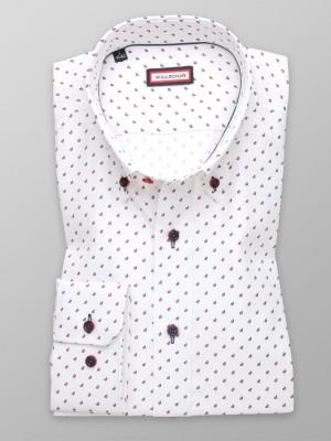 Biała taliowana koszula w bordowe łezki