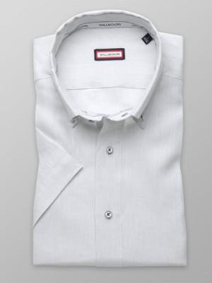 Jasnoszara lniana taliowana koszula