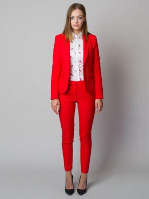 Czerwono-pomarańczowy garnitur damski