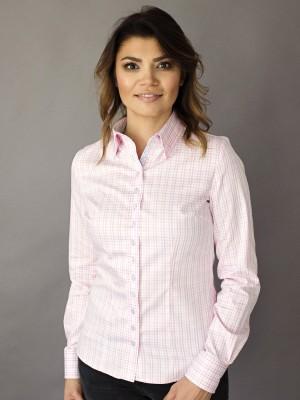 Bluzka w biało-różową kratkę