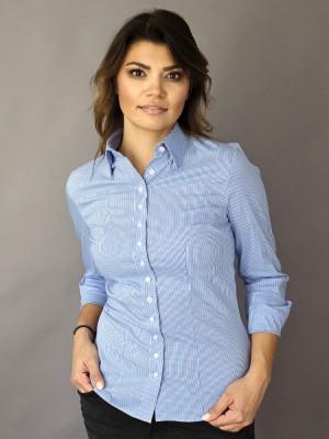 Bluzka w drobną niebieską kratkę